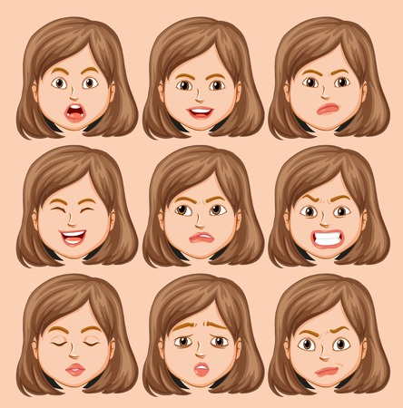 Set of girl head with different facial expression illustration Illustration