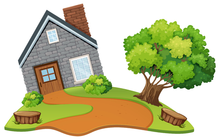 A stone house in nature illustration