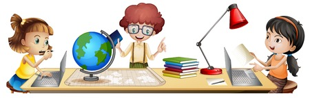 Isolated students learning on the table illustration