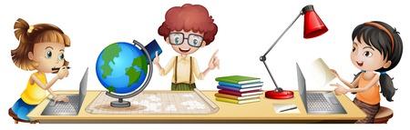 Izolowani uczniowie uczą się na ilustracji stołu