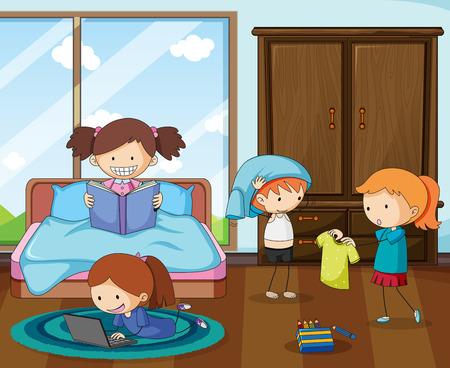 Gruppo di bambini scarabocchiati nell'illustrazione della camera da letto Vettoriali