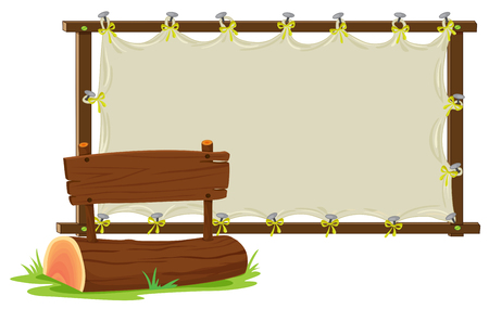 Baumstamm und Holzschildillustration