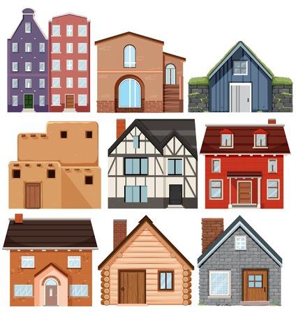 Set of different culture houses illustration Иллюстрация