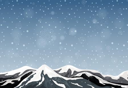 Outdoor winter mountain landscape illustration Ilustrace