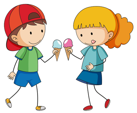 Doodle kids eating icecream illustration