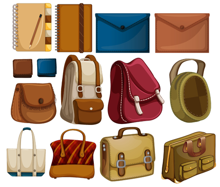 Set of leather object illustration Иллюстрация