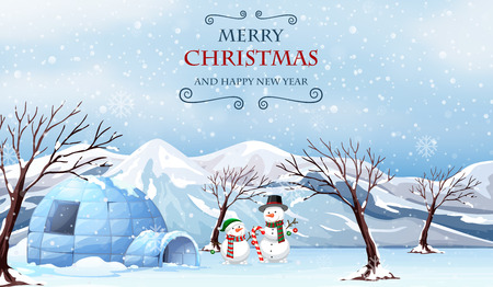 Merry christmas outdoor template illustration