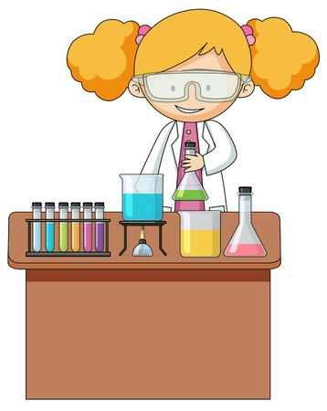 Girl experiment in the laboratory illustration