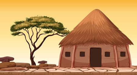 Een traditionele hut bij woestijnillustratie