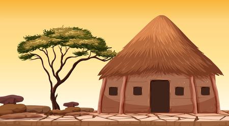 Una cabaña tradicional en la ilustración del desierto.
