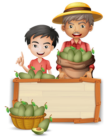 Farmer holding avocado on banner illustration