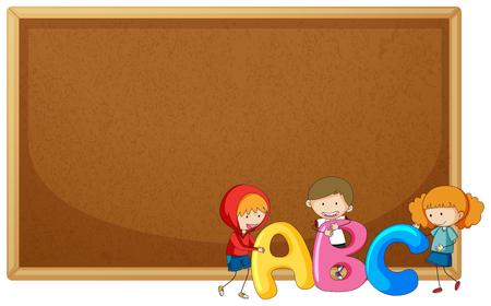 Kids holding ABC on corkboard illustration