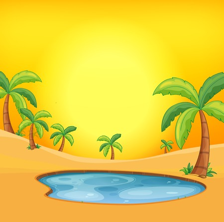 Orange hot desert background illustration