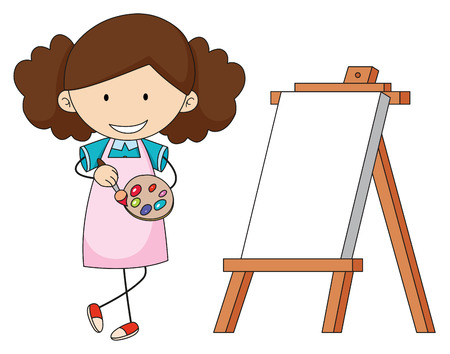 Doodle artist girl painting illustration