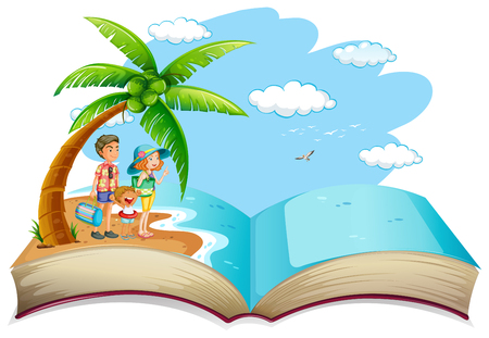 OPen book family summer vacation illustration