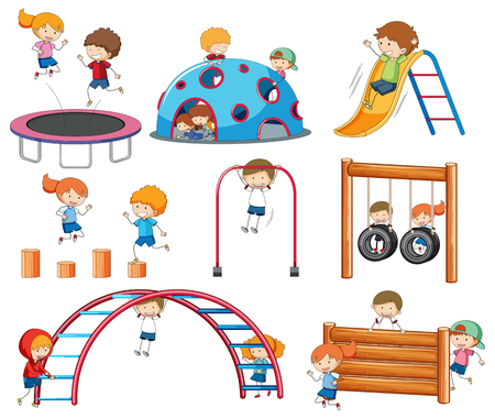 Doodle character at playground illustration