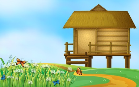 A hut in the nature illustration