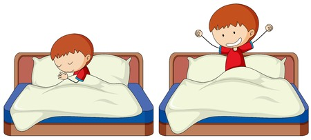 Set of boy sleep and wake up illustration