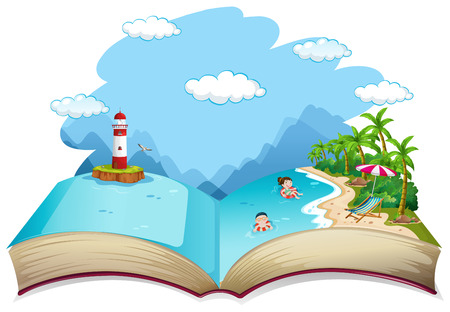 Open book summer beach holiday theme illustration