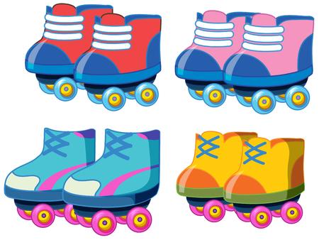 Set of roller skate shoes illustration