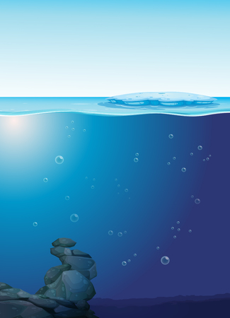 An deep underwater template illustration