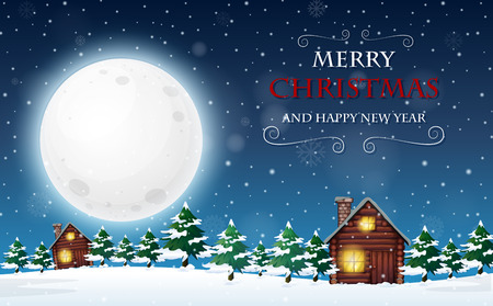 A merry christmas and happy new year template illustration Vector Illustration