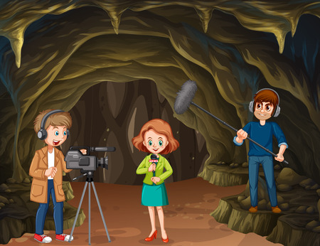 Journalist report from cave illustration