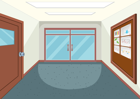 An empty school hallway illustration Illustration