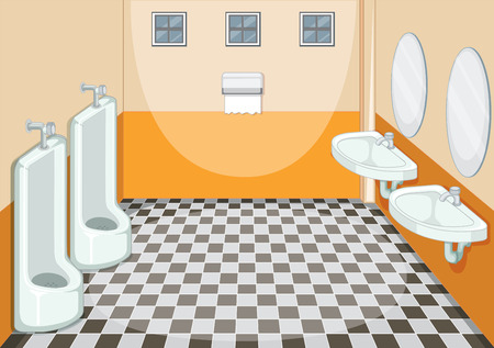 Interior design of male toilet illustration