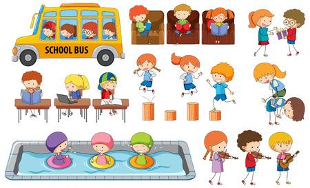 Set di illustrazione delle attività degli studenti