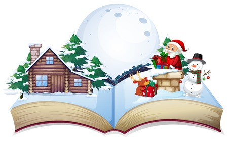 Chirstmas theme on open book illustration