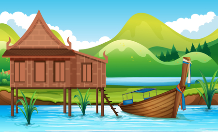 Traditional Thai house next to river illustration Ilustrace