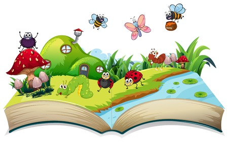 Happy insect on open book illustration