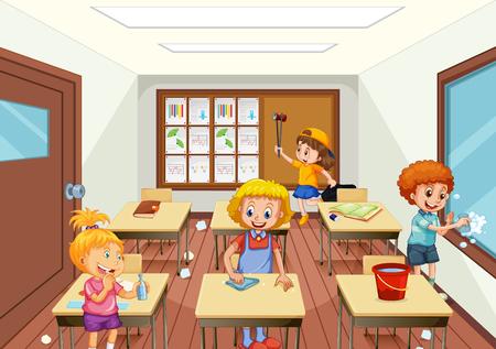 Grupo de personas limpiando ilustración de aula