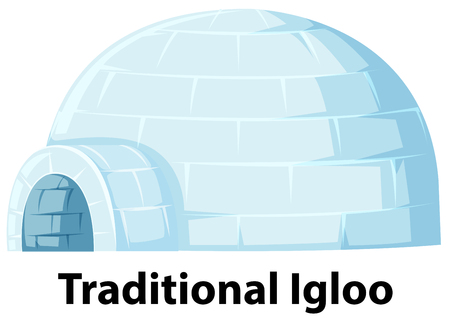A traditional igloo on white background illustration Illustration