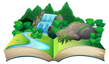 Open book with nature landscape illustration  イラスト・ベクター素材