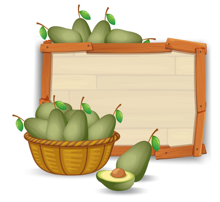 Avocado on wooden banner illustration