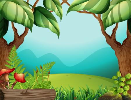 A green jungle template illustration Ilustração