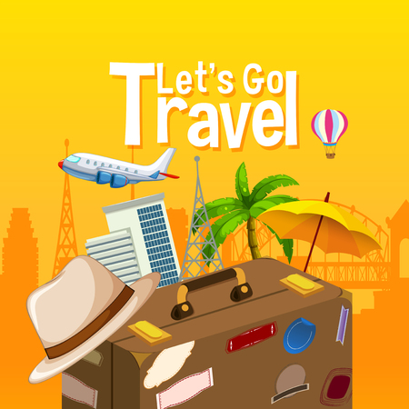 Let's go travel object illustration