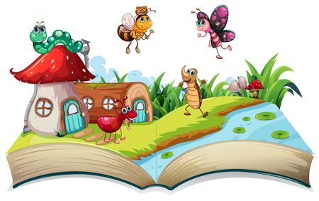 Insect on open book illustration Stock Illustratie