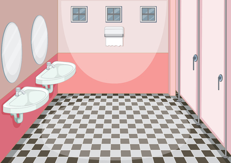 Interior design of female toilet illustration