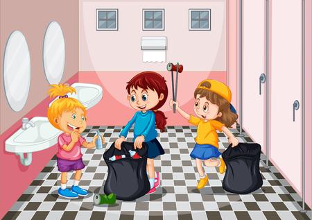 Children collecting trash in toilet illustration Ilustração
