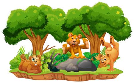 Bear on isolated jungle island illustration Ilustração