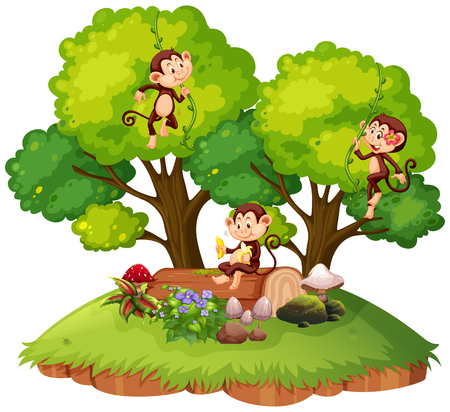 Monkey on isolated nature illustration Illustration