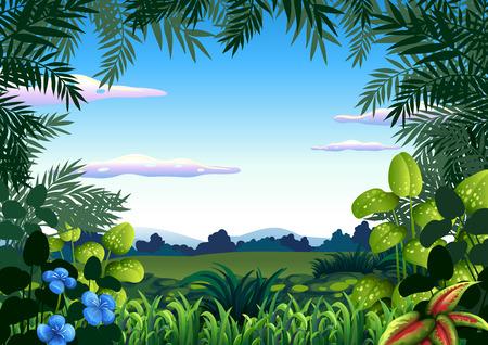 A jungle theme template illustration