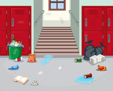Dirty indoor school hallway illustration