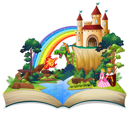 A fairy tale open book illustration