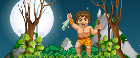 A caveman hunting for food illustration