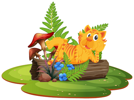 Tiger on tree log illustration