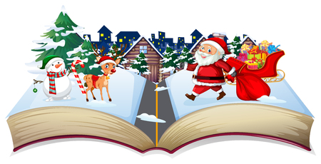 Open book christmas theme illustration